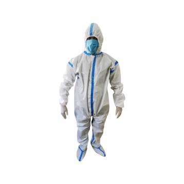 FULL BODY COVERALL GOWN SUITE WITH HOOD AND SHOE COVER   PREMIUM